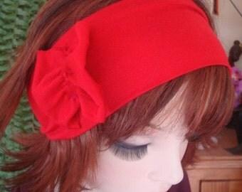 Womens headbands adult hairband Red wide Headband yoga hairband with ruffle bow