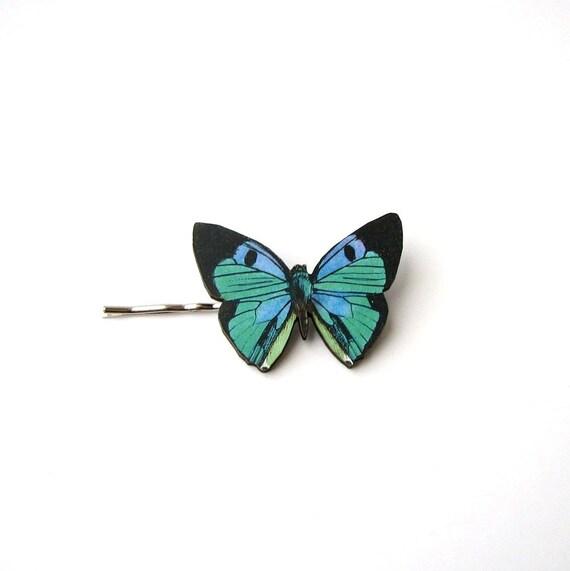 green lavender & black butterfly hairpin bobby pin / hair grip