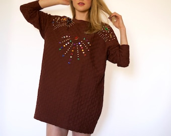 80s Bejeweled Long Sleeve Oversized Sweater Tunic Dress s m l
