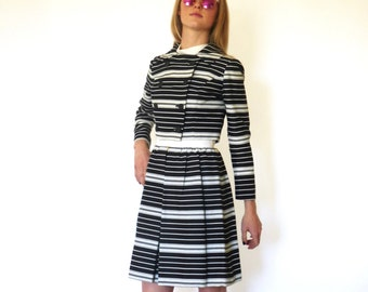 60s Black Cream Mod Stripe Dress Jacket Suit Set xxs xs