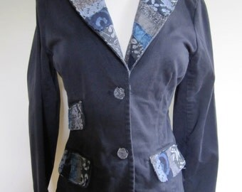 Black Blazer Jacket Japanese Patchwork Asian Button Front Cotton Upcycled - Size Small