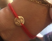 Red String Bracelet Kabbalah Bracelet Hebrew Letters kabbalah Letter Combination Protection Thread Personalized Hand Stamped Gold Disc BFF