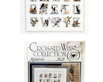 Vintage Alphabirds Cross Stitch Pattern, Bird Needlework, Alphabet Cross Stitch, Crossed Wing Collection Dan Minkebige, Bluebird, Woodpecker