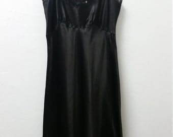1950's Barbizon Camilee Slip, Black, Lace Straps and Micro Pleat Hem, Size 32 Bust, #60198