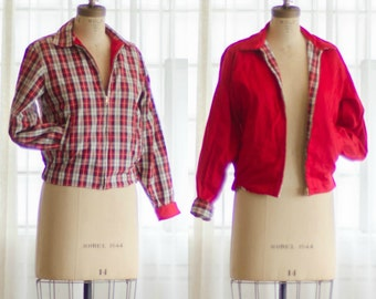 1950s Plaid Jacket - Vintage 50s Eisenhower Jacket - Valedictorian Jacket