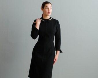 Vintage 1950s Wool Dress - 50s Wiggle Dress - Bravado Wool Dress