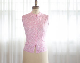 1960s Sleevelss Blouse - Vintage 60s Pink Shirt - Cotton Candy Blouse