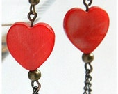 Red Heart Earrings Mother of Pearl Earrings Antique Bronze Chain Dangle Steampunk Vintage Style valentine day gift for Woman Mom Girlfriend