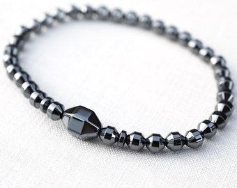 Summer Party Gift Modern Minimal Bracelet Hexagon Magnetic Hematite Bracelet Men Tech Thin Natural Stone Bracelet Men Bracelet Birthday Gift