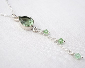 Summer Party Gift Green Amethyst Necklace Prasiolite Teardrop Pendant Chain Tassel Necklace Thin Chain Necklace Sterling Silver Necklace