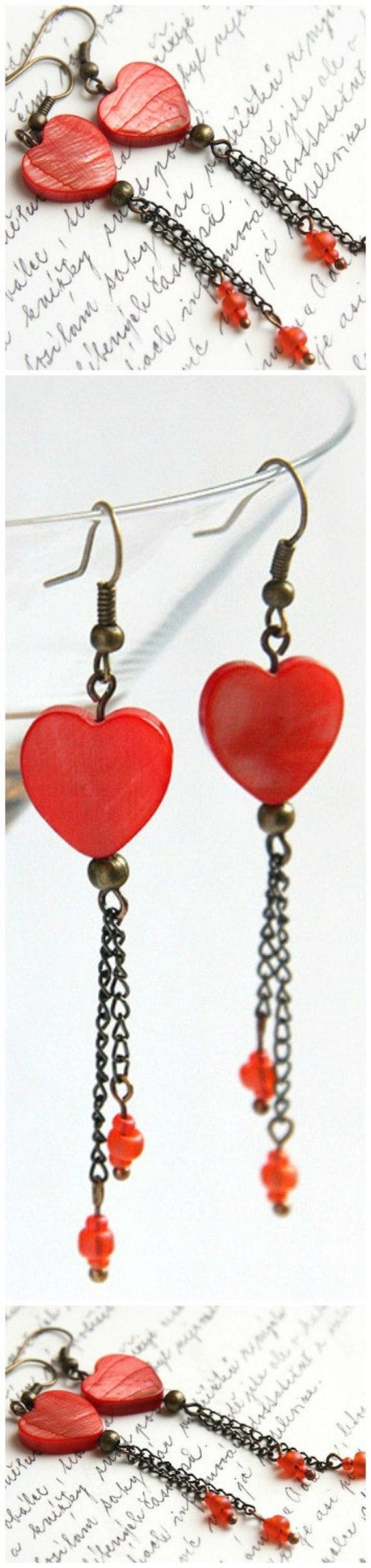 Red Heart Earrings Mother of Pearl Earrings Antique Bronze Chain Dangle Steampunk Vintage Style gift for Woman Mom Girlfriend jewelry trend