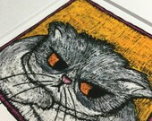 Cat illustration - fluffy, grumpy grey and white cat Giclée print from an original drawing by stupidcats - cat lovers gift