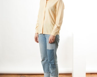 Long Sleeve Silky Blouse / Yellow Casual Blouse / Embroidered Collar and Button Holes Blouse