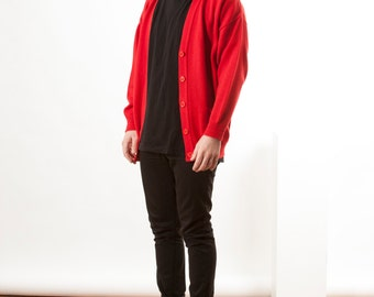 Basic Red Cardigan / Vintage Holiday Jumper / Button Up Mens Sweater
