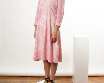 Long Sleeve Pink Dress / Retro Flowing Dress / Pleated Abstract Vintage Dress