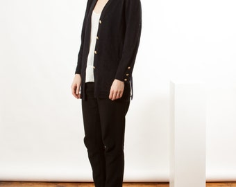 Wool Long Sleeve Cardigan / Black Fitted Vest / Warm Long Sleeve Cardigan