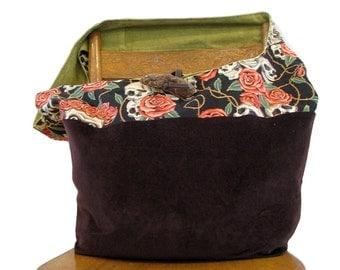 SLOUCHY HOBO BAG - Skull Bag - Cross Body Bag - Hippie Bag - Large Bag - Vegan Bag - Skull and Roses - Slouch Bag - Hippie Bag - Boho Bag