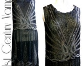 1920s Dress. RARE larger size. Art Deco Beaded Flapper Dress. Jazz Age. Charleston. 20s Vintage.