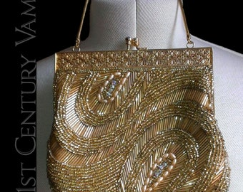 1950s Vintage Beaded Purse. Luxurious Gold, Pearl and Diamanté Beadwork Evening Bag. Art Deco Style.
