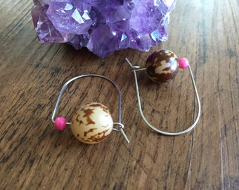 Bodhi seed earrings, natural Bodhi modern hoop earrings