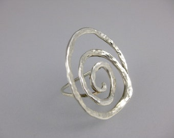 Big and Bold Hammered Sterling Silver Swirl Ring