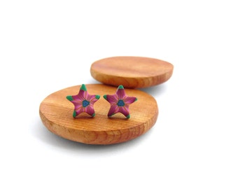 Pink and Green Star Stud Earrings, Small, Hypo Allergenic, Fimo Professional Polymer Clay & Stainless Steel, Supremily Jewellery