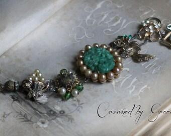 Garden Green~ vintage assemblage bracelet faux jade champagne pearls one of a kind romantic bracelet crowned by grace