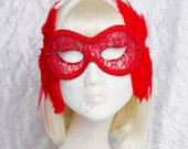 Lace Masquerade Mask 'Casanova' Red, Venetian, Feather, Carnival, Bridal, Wedding, Rhinestone, Fetish, Victorian, Steampunk, Goth