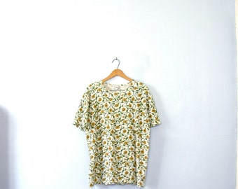 Vintage 80's sunflower print top, tee, t shirt, size large