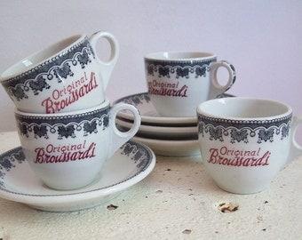 Vintage restaurant ware Original Broussards demitasse cup and saucer set of 4 espresso Mid Century New Orleans advertising Shenango China