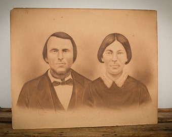 20x16 Antique 1864 Photograph, Lockport NY Couple, Large, Vintage 1800s