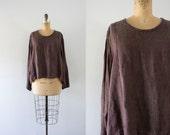 1990s Forgotten Plum linen flax blouse / 90s Jeanne Engelhart