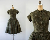 RESERVED |1950s Forgotten Forest floral greenery dress / 50s autumn beauty