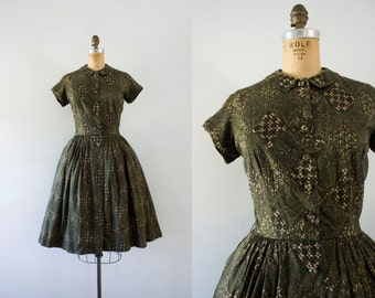 1950s Forgotten Forest floral greenery dress / 50s autumn beauty