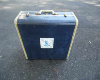Suitcase vintage Samsonite square blue suitcase for display, project, storage, decor and more 17 x 17 x 7 1/2""