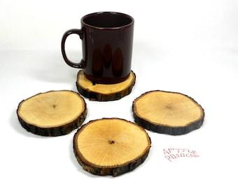 Oak Coasters, Wooden Coasters, Reclaimed Bark/Natural Coasters, Upcycled Coasters, Set of 4 - #1223