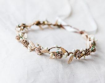 natural beige ivory berry leaf hair wreath // bridal wedding flower crown headband rustic forest garden spring woodland headpiece