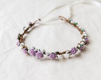 flower girl children's flower crown // lilac lavender white / wedding flowergirl kids size floral hair wreath headpiece, nature bohemian