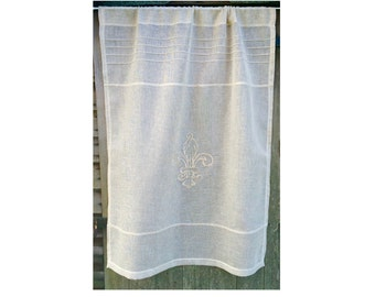 Natural Monogram Sheer Curtain, French Linen Curtain,  Fleur de Lis, European Style, French Window Treatment