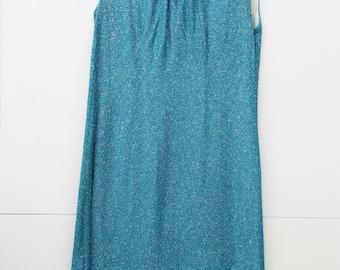 Turquoise Kiss, Vintage, 1970s Aqua Blue Sparkle Lurex Midi Dress, Paris Vintage