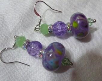 lavender and green lampwork bead 925 pierced earrings