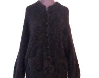vintage angora sweater - 1980s Woof black lambswool designer oversized cardigan sweater