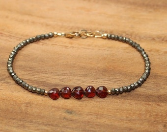 Garnet and Pyrite Bracelet, Garnet Jewelry, Gold Filled, January Birthstone. Layering, Gemstone Bracelet