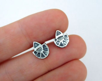 Silver studs | sterling post earrings | small silver earrings | sterling silver metalwork | Stamped earrings