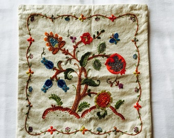Vintage Crewel Embroidered Pillow Cover Flora Fauna 12 x 13