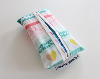 travel tissue case / tissue holder -- striped color crush hearts