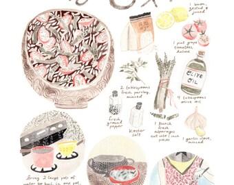 Orzo Salad Recipe Giclee Art Print 8 x 10, Wall Art, Food Art, Kitchen Watercolor