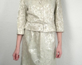 Vintage 60s Brocade Suit / Ivory Skirt and Jacket / Pencil Skirt M