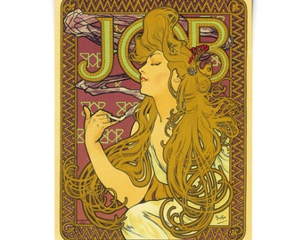 Art Nouveau Poster / Job Cigarettes by Mucha / Vintage French Advertisements Reproduction Print. Bohemian Hippy Art Gypsy Boho - CP302