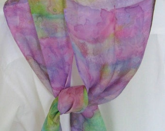 Hand painted silk scarf leaf design purple pink green 8x54 scarf